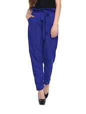 Cobalt Blue High-waist Pants - Miss Chase