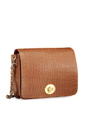 Chic Brown Textured Sling Bag - Phive Rivers