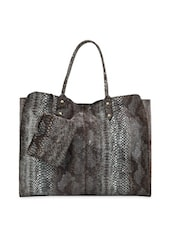 Black Reptile Skin Hand Bag With Pouch - Phive Rivers