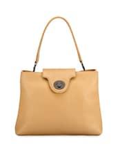 Classic Beige Leather Handbag With Metallic Closure - Phive Rivers