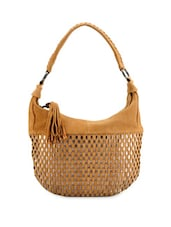 Tan Brown Checkered Handbag With Tassels - Phive Rivers