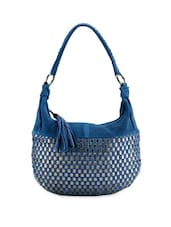 Blue Checkered Small Handbag With Tassels - Phive Rivers