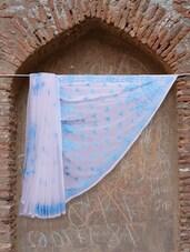 White And Blue Chikankari Saree - Ada