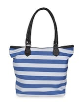 Blue And White Striped Tote Bag - Art Forte