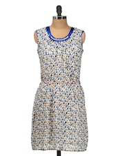 White And Blue Floral Dress - Silk Weavers