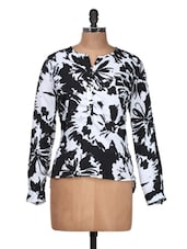 White And Black Floral Top - Silk Weavers