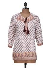 White Ethnic Print Kurti - Silk Weavers