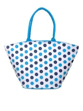 White And Blue Polka-dotted Bag - YOLO - You Only Live Once
