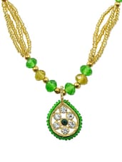 Green And Gold Beaded Necklace - AAKSHI