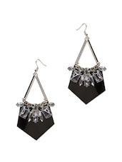 Black Classy Earrings With White Stones - CIRCUZZ