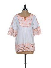 Floral Detailed Cotton Top - RENA LOVE