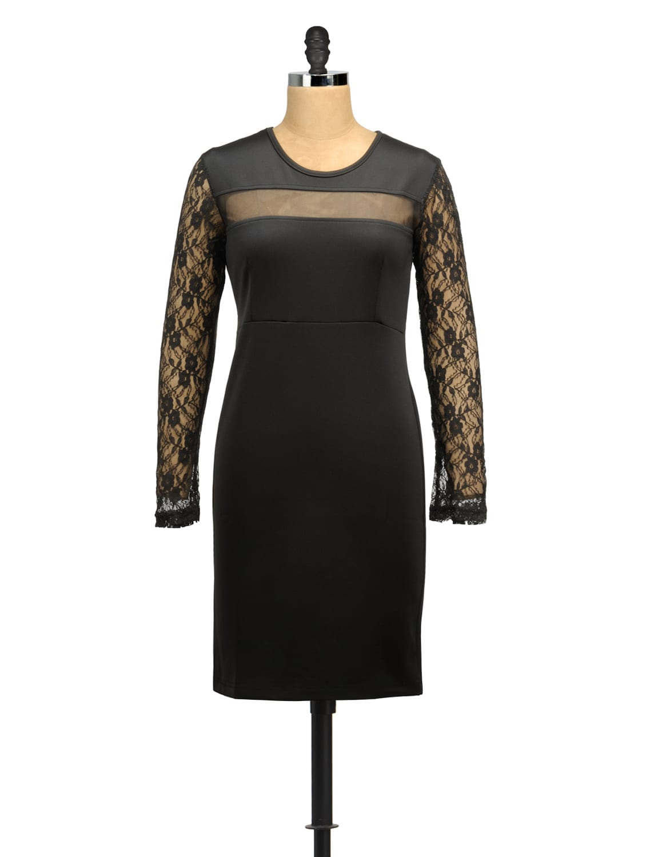 Mesh Stripe Bodycon Black Dress - MARTINI