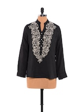 Lovely Black Top With Woollen Embroidery - URBAN RELIGION
