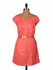 Short Sleeve Pleated Dress With Belt - URBAN RELIGION