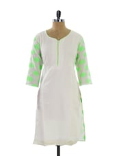 White And Neon Green Lotus Motif Kurta - Maybell