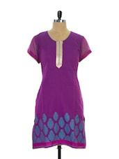 Bright Purple Short-Sleeved Kurta - Maybell