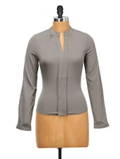 Chic Grey Polyester Top - Oxolloxo