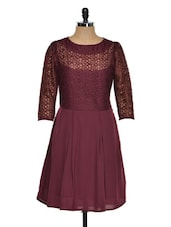 Wine Fit-and-flare Dress - Eavan