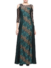 Teal Printed Gown With Lace Sleeves - Eavan