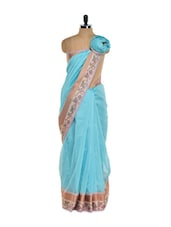 Light Blue Cotton Silk Saree - Bunkar