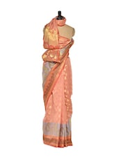 Peach Cotton Silk Saree With Zari Work - Bunkar