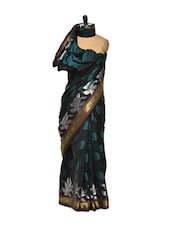 Leaf Print Black Cotton Silk Saree - Bunkar