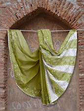 Mehendi Green And White Chikankari Saree - Ada