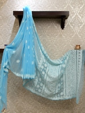 Beautiful Blue Chikankari Saree - Ada