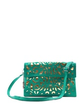 Sea Green Cutwork Sling Bag - Miss Chase