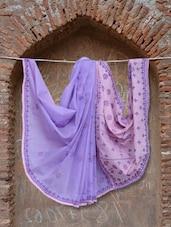 Purple & Pink Chikankari Saree - Ada