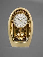 Gold White Rose Pendulum Table Clock - Rhythm