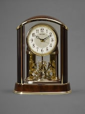 Faux Woodgrain And Gold Table Clock - Rhythm