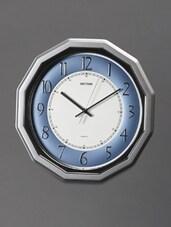 Retro Art Deco Blue And Silver Wall Clock - Rhythm