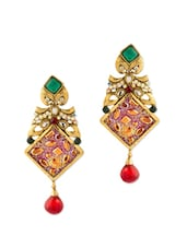 Gold Plated Dangle Earrings With Rhombic Profile, CZ Embellishment - Voylla
