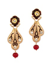Gold Plated Floral Dangle Earrings - Voylla