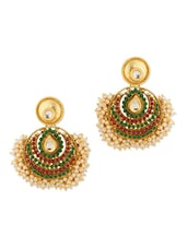 Gold Plated  Stone Studded Earrings - Voylla