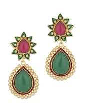 Gold Plated Danglers With Stones - Voylla