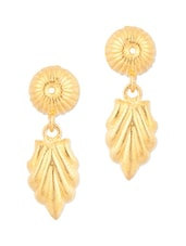 Gold Plated Golden Leaf Drop Earrings - Voylla