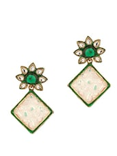 Green Stone Studded Rhombic Earrings - Voylla