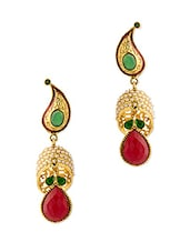 Gold Plated Red Stone Earrings - Voylla