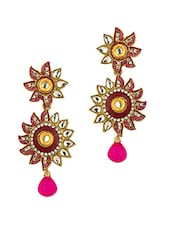 Gold Plated Pink Floral Earrings - Voylla