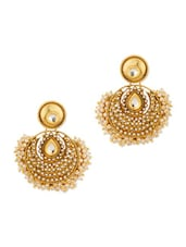 Gold Plated Circular Dangle Earrings With Pearl Beads - Voylla