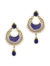 Crescent Shaped Blue Cz Earrings Set With Pearl Beads, Gold Plating - Voylla