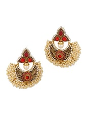 Gold Plated Pearl Studded Earring Pair With Meenakari Work - Voylla