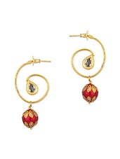 Gold Plated Dangler Earrings With CZ And Colourful Beads - Voylla