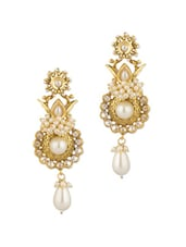 CZ Encrusted Gold Plated Dangler Earrings With Pearls - Voylla