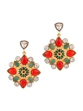 Ethnic Floral Red And Green Stone Studded Earrings - Voylla