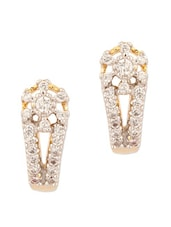 Gold Plated Cz Studs With Curvy-Floral Design - Voylla