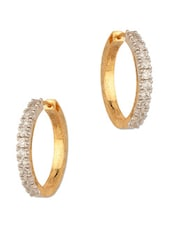 Cz Encrusted Gold Plated Earrings With Cubic Zirconia - Voylla