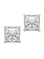 Sterling Silver Stud Earrings With Square Swarovski Crystals - Voylla